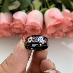 Image 3 - 6mm 8mm Black Wedding Bands Tungsten Carbide Rings for Men Women Rose Gold Gears Blue Carbon Fiber Inlay Polished Comfort Fit