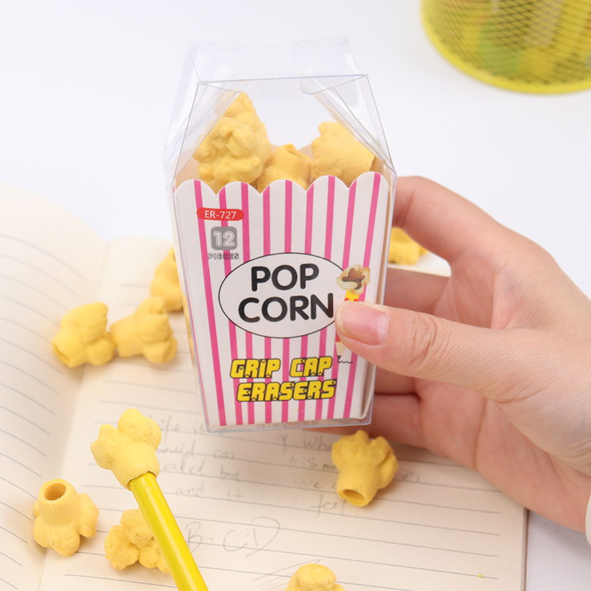 12PCS/Box Kawaii Food Popcorn Eraser Children Stationery School Supplies Rubber Pencil Erasers Kids Creative Korean Stationery