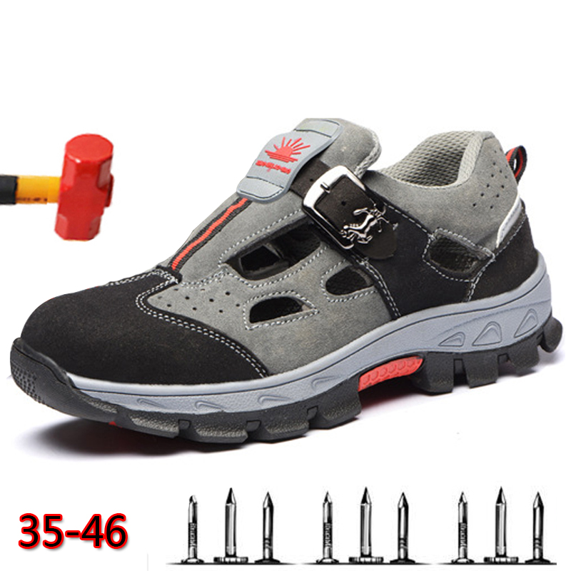 Labor Insurance Shoes Men's Sandals Summer Light Breathable Deodorant Safety Shoes Casual Non-slip Men's Work Shoes XL 36-45