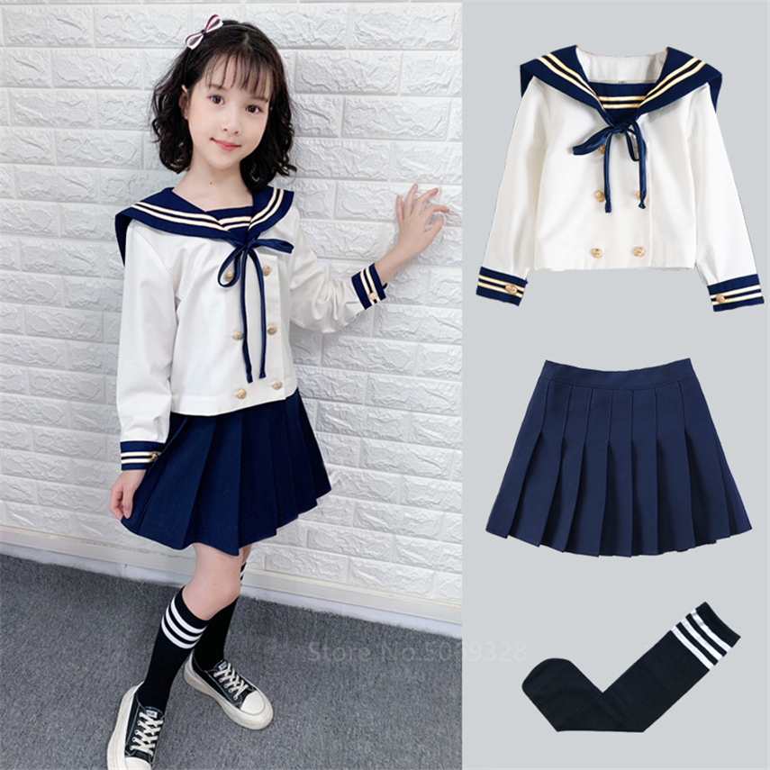 Girl Japanese Korean Student School Uniforms Kids JK Sailor Dress Kawaii Sweet Pleated Skirt Long Sleeve Suit Orthodox Navy Top