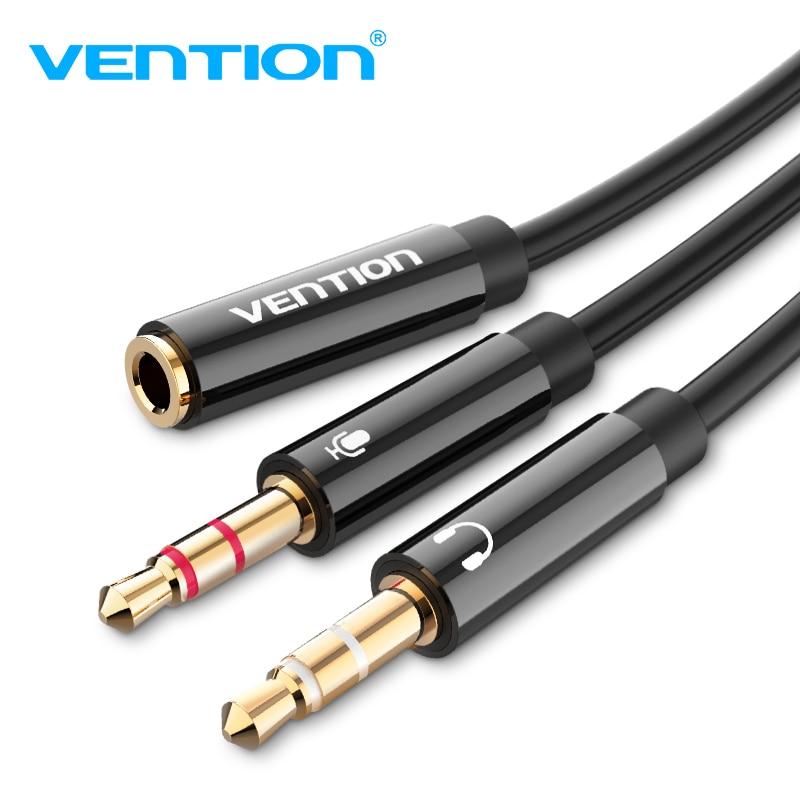 Divisor do fone de ouvido do cabo da extensão de áudio de vention para o computador 3.5mm fêmea a 2 macho 3.5mm mic y divisor fone de ouvido para o adaptador de computador