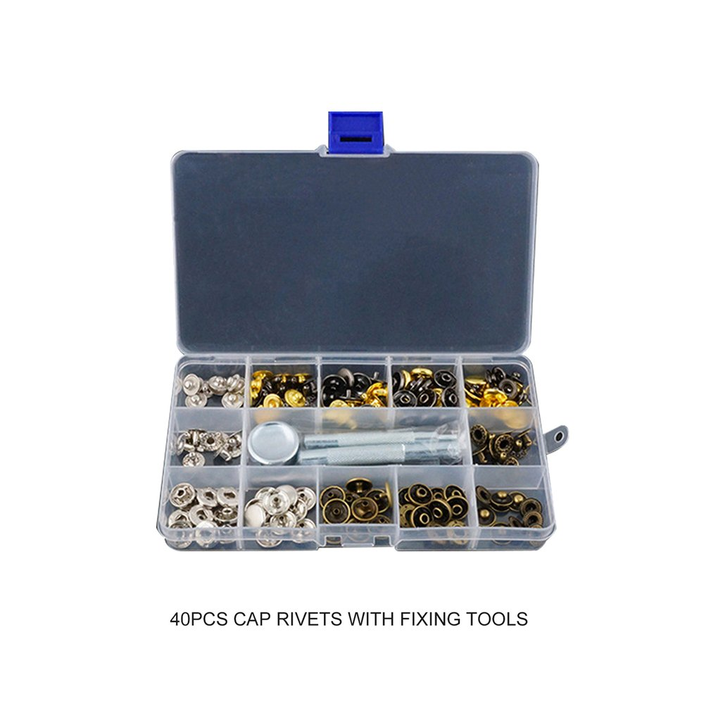 Snap Fasteners Leather Snaps Button Kit Jeans Shoes Press Studs Leather Rivets Single Cap Rivets with Fixing Tools|Hand Tool Sets| |  - title=