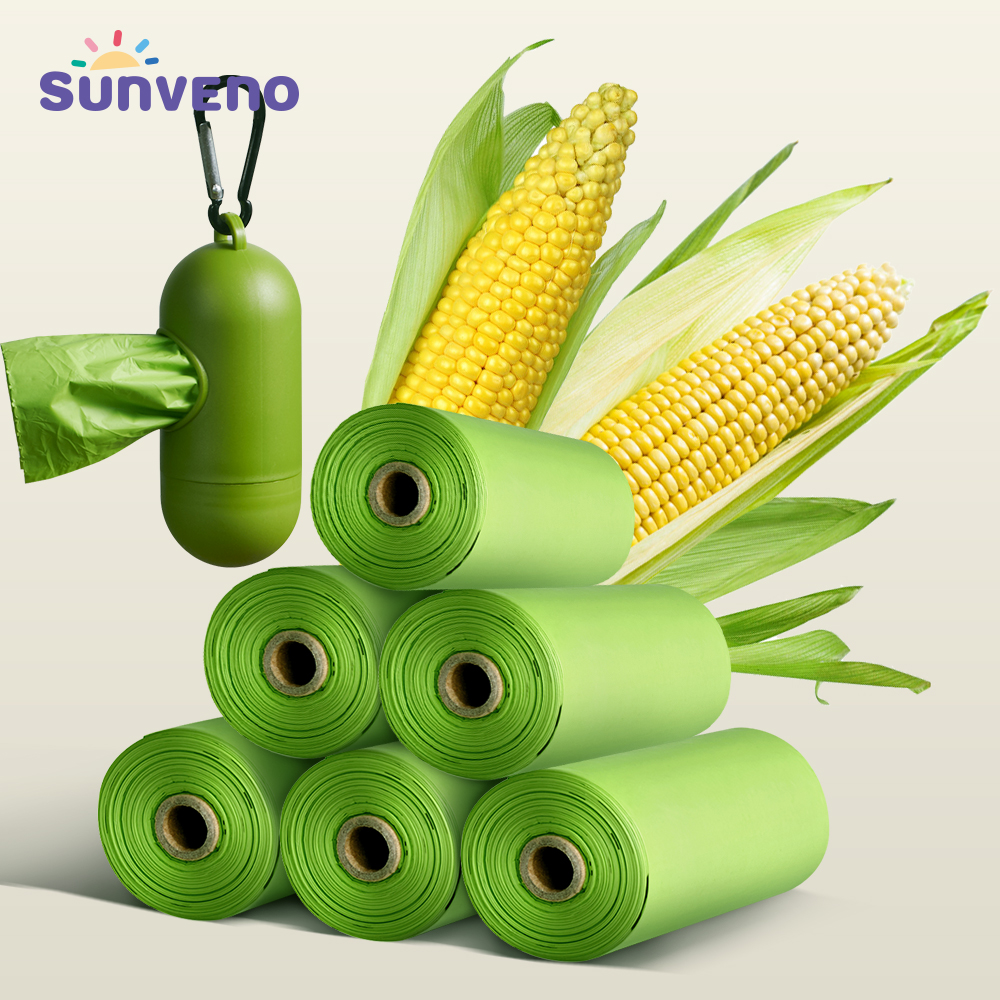 Degradable Corn Starch Pet Baby Garbage Bag Disposal Bags Portable Nappy Garbage Bag Refillable Bin Box Case Eco Friendly