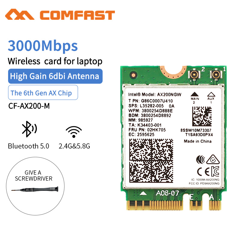 Intel CF- AX200 Dual Band 2400Mbps NGFF M.2 Bluetooth 5.0 Wifi 6 Network Card 2.4G/5G 802.11AX/AC WIFI AX200NGW MU-MIMO Adapter