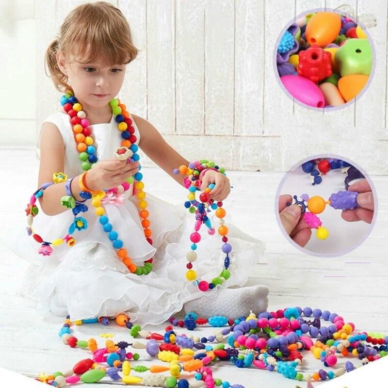 Heißer spielzeug Pop Perlen Snap-Zusammen Kid Schmuck zubehör Kit DIY Halskette Ring Armband Handwerk Geburtstag Geschenk für Mädchen weihnachten
