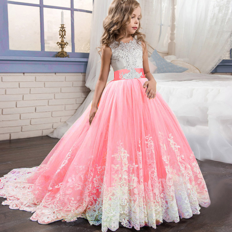 Girls Elegant <font><b>Princess</b></font> <font><b>Dress</b></font> 4 TO14 Years Girls Wedding <font><b>Dresses</b></font> For Girls Birthday <font><b>Party</b></font> Evening Children clothing Vestido image