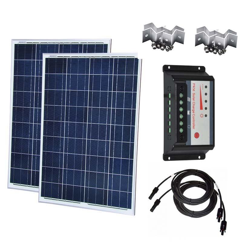 Kit Solar Para Casa 200w 100w Panel 12v 2 Pcs Charge Controller 12v/24v 30A Dual USB Home Rv Motorhome