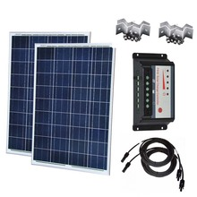 Kit Solar Para Casa 200w 100w Panel 12v 2 Pcs Charge Controller 12v/24v 30A Dual USB Home Rv Motorhome