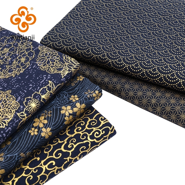 Navy Cotton Fabric By Half Yards Japanese Sewing Fabric For DIY Kimono Handicraft Materials For Children TJ1023 1