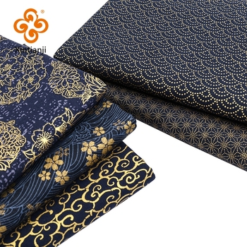 Navy Cotton Fabric By Half Yards Japanese Sewing Fabric For DIY Kimono Handicraft Materials For Children TJ1023