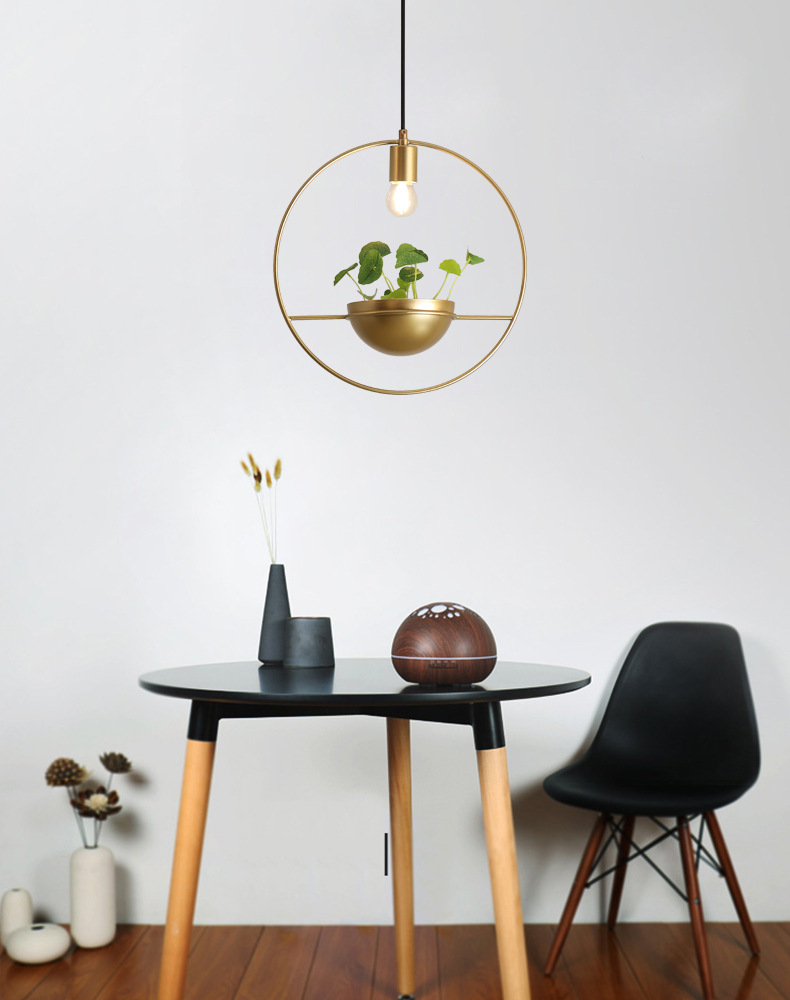 Moderno anel de ouro pingente luzes planta