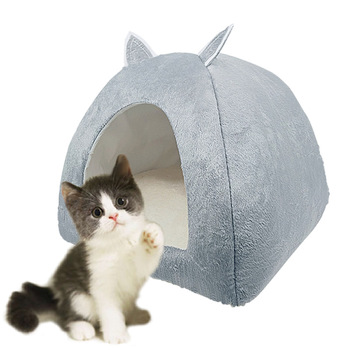 цена на 2 in 1 Cat House Soft Beds For Cats Foldable Washable Kitten Puppy Sleeping Cave Bed Brown Grey Pet cat Dog tent nest house Mat