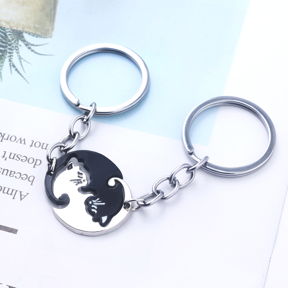 Yin and Yang Cat Keychain