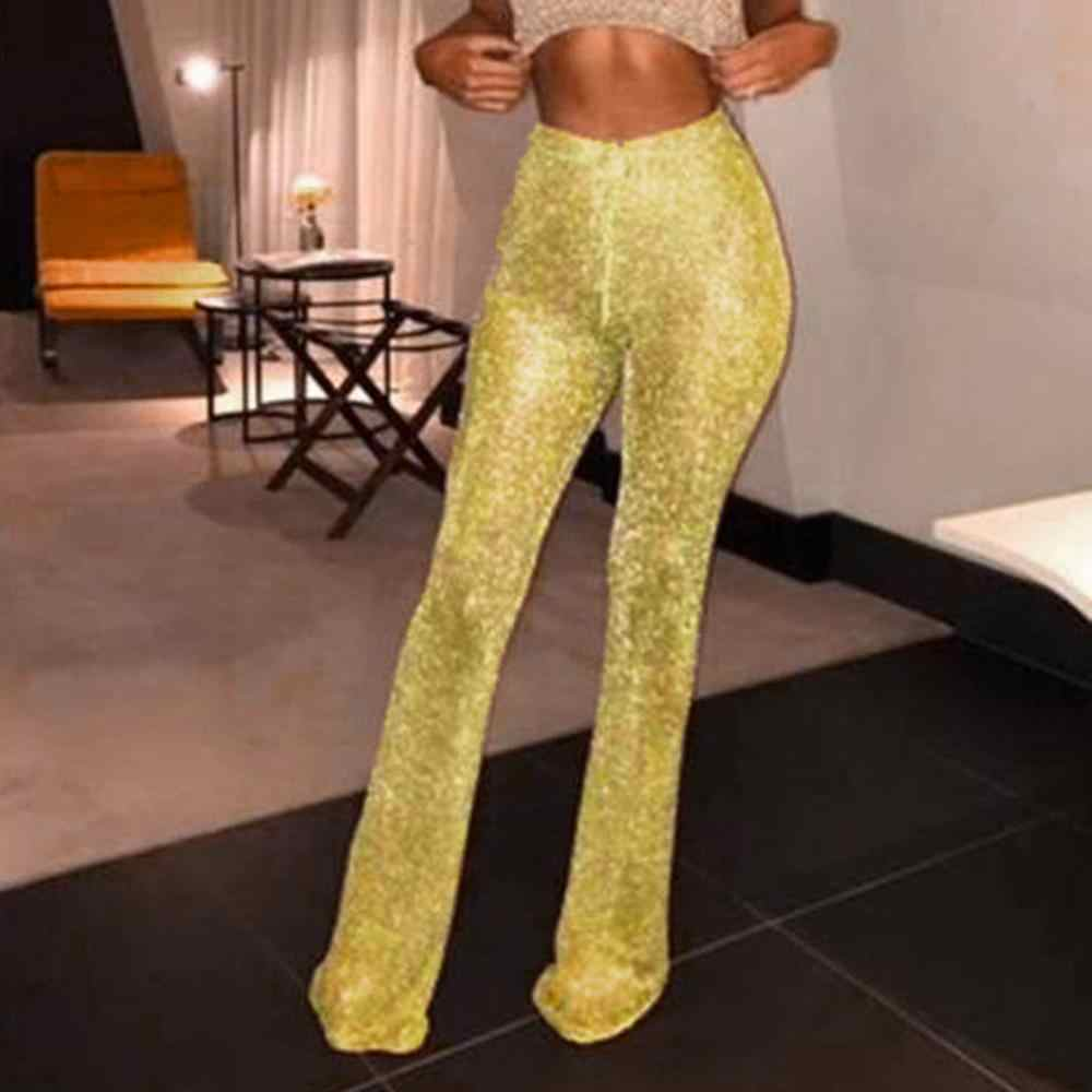 Fashion Womens Flared Glitter Pailletten Leggings Solid Hoge Taille Bell Bottom Broek Disco Broek Lady Koord Broek #1017