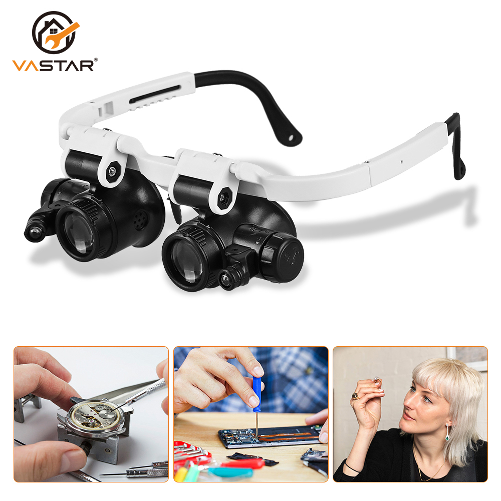 Head Mounted Magnifier Jeweler Watchmaker Magnifying Glass With Led Light 8x 15x 23x Led Magnifying Glasses Optical Glasses