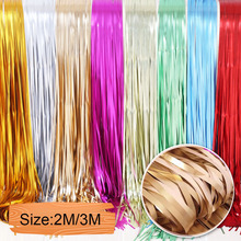 2M 3M Metallic Foil Fringe Wedding Backdrop Stand Birthday Party Decorations Adult Mariage Door Curtain Swag Matte Tinsel Drapes