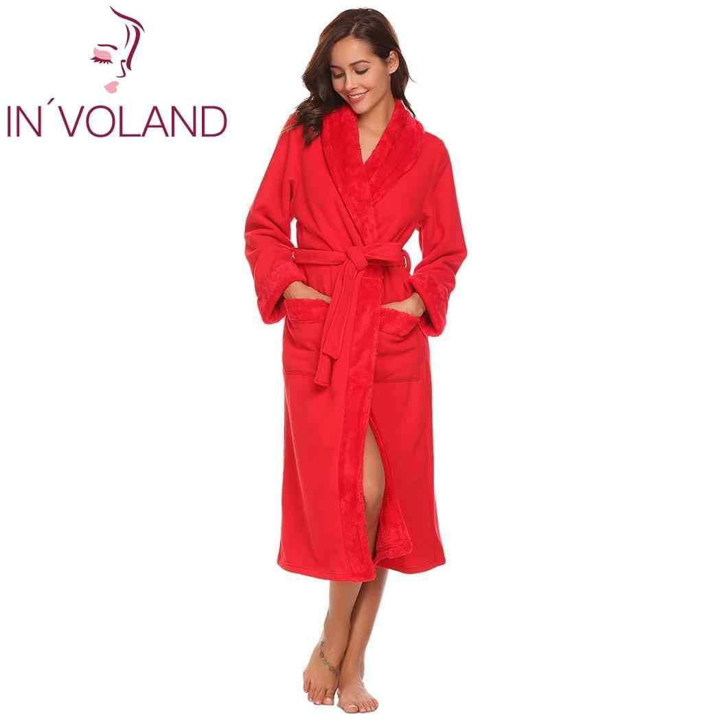 女性の冬パジャマソフトウォームぬいぐるみフリースローブオープンフロントロング着物スパバスローブ女性ホームウェア