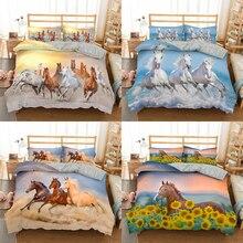Homesky 3D Horses Bedding Set Luxury Soft Duvet Cover King Queen Twin Full Comforter Bed Set