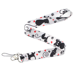 CA205 Cute Black Cat Lanyard Neck Strap for key ID Card Cellphone Straps Badge Holder