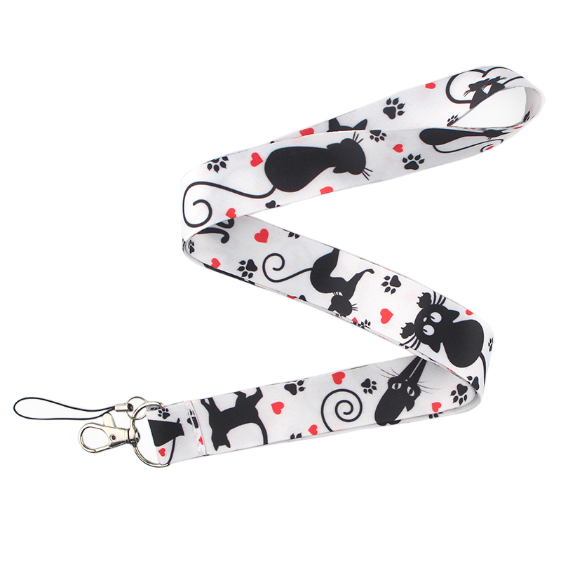 CA205 Cute Black Cat Lanyard Neck Strap for key ID Card Cellphone Straps Badge Holder DIY Hanging Rope Neckband Accessories