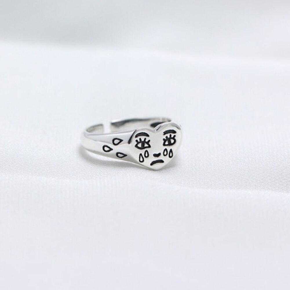 Personalidade Charme Minúsculo Coração Anéis para Mulheres Cor Prata Anéis de Dedo de Jóias Por Atacado Criativo Lágrimas Expressão da Face Do Anel