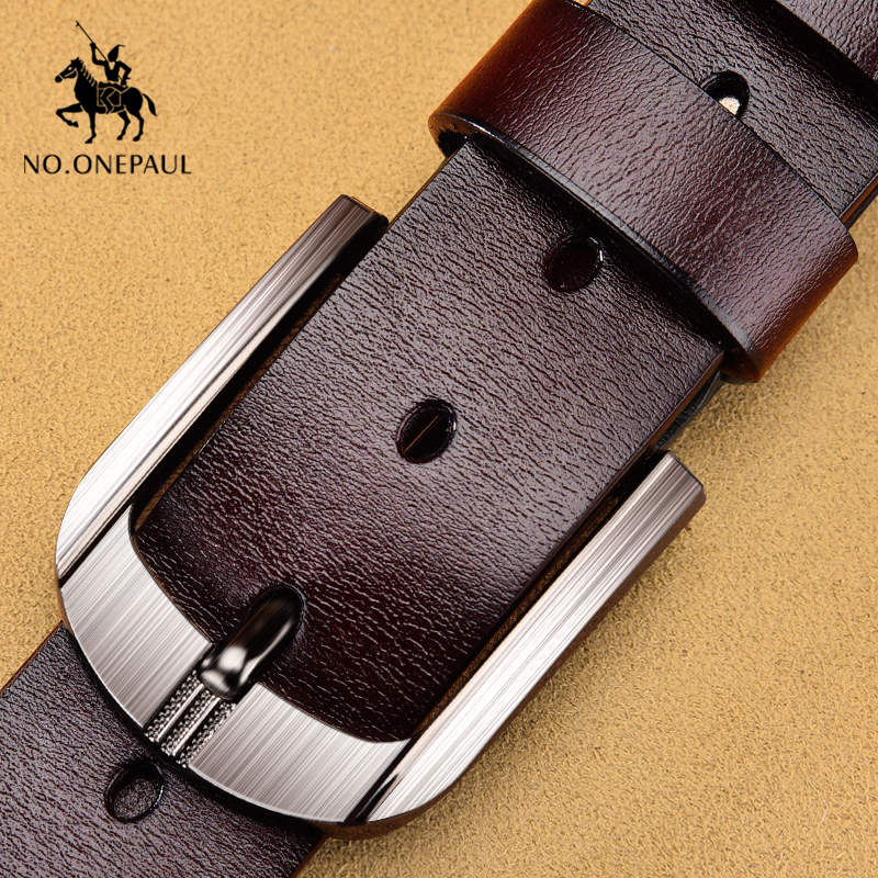 NO.ONEPAUL Men Belt Cow Genuine Leather Luxury Fashion New Male Belts For Men Vintage Pin Buckle Waist Belts High Quality