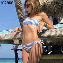 INGAGA One Shoulder Bikinis 2019 Mujer Sexy Knotted Swimsuit Women Striped Swimwear micro Bikini Bathing Suit Bathers