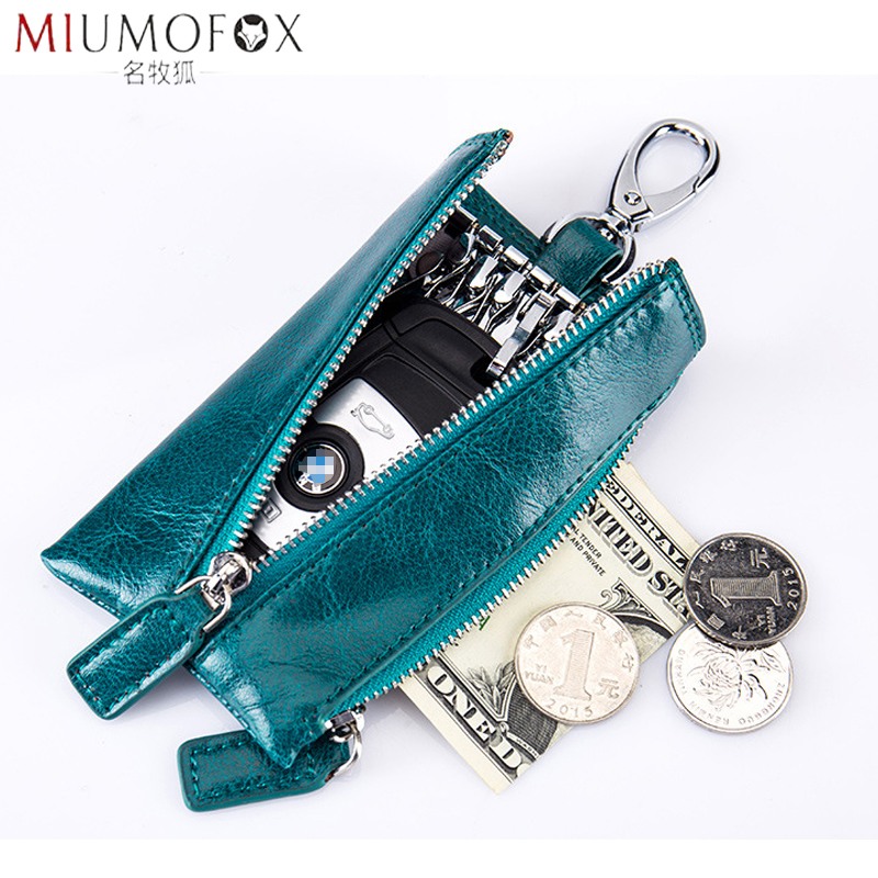 Fashion New Genuine Leather Men Key Holder Housekeeper Keys Organizer Women Coin Purse Zipper Car Key Case Coins Pouch Cover Bag