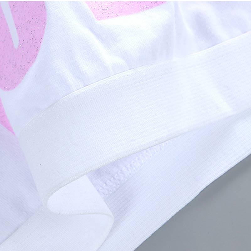 Kids Girl Cotton Sport Training Bra Letter Print Solid Colort Teenage  Underwear Wireless Cotton Bralette Crop Top Small Vest 5