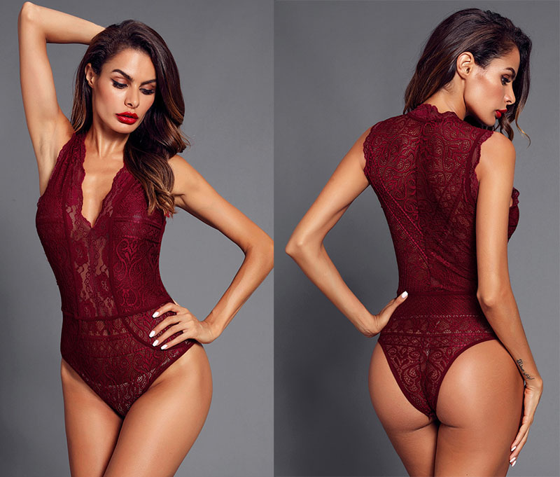 Red-V-Neck-Hollow-out-Lace-Bodysuit-LC32247-3-6