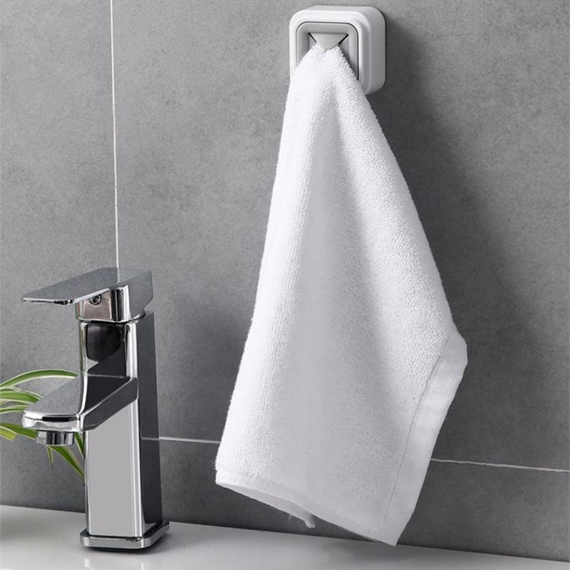 2 Colors Creative Self-adhesive Cloth Tea Towel Rack Hanging Nass Kitchen Bathroom Towel Stopper Punch-free Paste Towel Rack