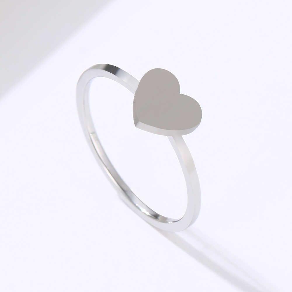 DOTIFI dla kobiet pierścionki brzoskwinia serca ze stali nierdzewnej złoto i srebro modna biżuteria pierścionek ułożone E91
