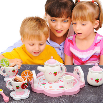 Children's Toys Girl Play House Simulation Pink Tea Set Wooden Baby Early Education Puzzle Kitchen Tableware Gift for Boys rosana puzzle wooden magnetic fashion play dress up toy clothes cute boy girl games toys fun early education 63pcs gift set