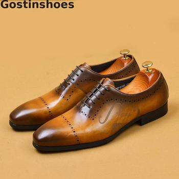 Dress Shoes Men Genuine Cow Leather Whole-cut Leather Shoes Black Brown Yellow Formal Shoes Lace-up Pointed Oxfords Shoes Men brand handmade genuine leather shoes men dress oxfords shohes lace up men shoes new fashion designer brown flat male