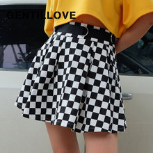Pleated-Skirt High-Waist-Belt Plaid Korean Women Short Casual Club Outwear Dancing