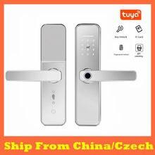 Cerradura de seguridad para el hogar, dispositivo de cierre inteligente de plata, Tuya, impermeable, con huella digital, WiFi, tarjeta RFID, electrónica, con contraseña