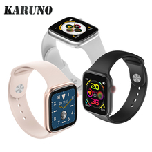 KARUNO الساعات الذكية شاشة تعمل باللمس الكامل معدل ضربات القلب ضغط الدم الرياضة المقتفي اللياقة البدنية لابل iOS أندرويد سيليكون حزام
