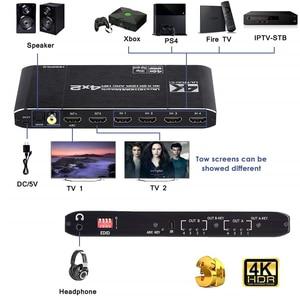 Image 2 - 2020 HDMI Ma Trận 4x2 4K @ 60Hz HDR Công Tắc Bộ Chia 4 trong 2 YUV 4:4:4 quang SPDIF + 3.5mm jack Âm Thanh Máy Hút HDMI Switcher