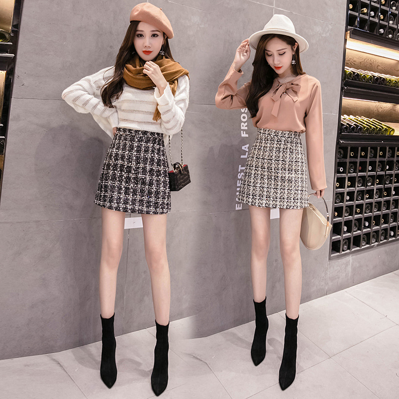 Photo Shoot Small Video Sheath High-waisted Plaid A- Line Skirt Short Skirt Woolen Skirt