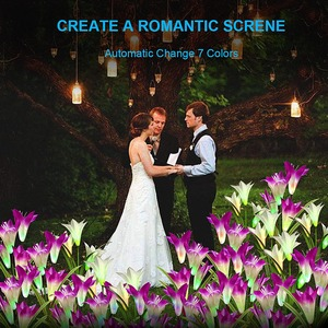 Image 5 - 2 adet güneş bahçe su geçirmez açık alan aydınlatması noel düğün dekor beyaz/mor çiçek peri sokak lambası güneş enerjisi çim lambası