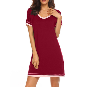 Women Night Dress Summer Mini Sleepwear Ladies Solid Colour V-Neck Night Wear Casual Short Sleeve home Sleepwear Femme D30