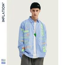 인플레이션 디자인 oversize fit retro stripe shirt 남성용 blue relaxed 멀티 스트라이프 형광 프린트 남성 셔츠 street 92128 w