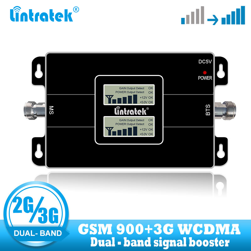 Lintratek Dual Band 2G 3G GSM 900 Signal Booster WCDMA 2100 Mobile Repeater Cellular Cell Phone Voice Communication Amplifier