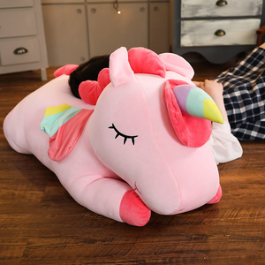 Dropshipping Giant Unicorn Plush Toy Soft Sitting Stuffed Popular Cartoon Unicorn Dolls Animal Horse Toys for kid xmas present