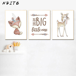 Tribal Woodland Animal Picture Deer Fox Nursery Quotes Poster Wall Art Canvas Print Painting Nordic Kid Baby Bedroom Decoration