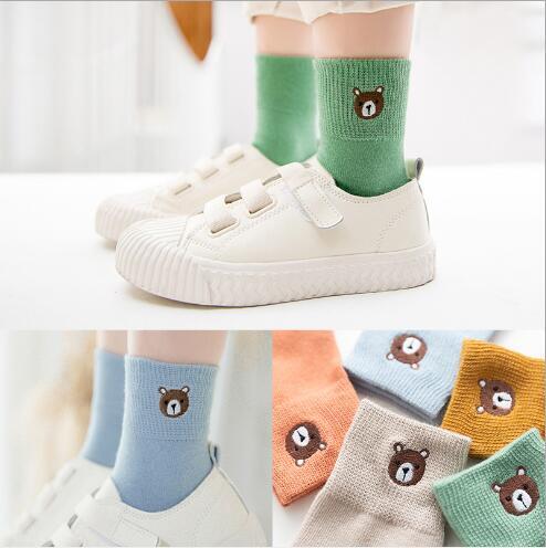 1-12 Year 5 pairs pack children's socks autumn new embroidery cartoon animal stripe student sport cotton kids boys girls socks 4