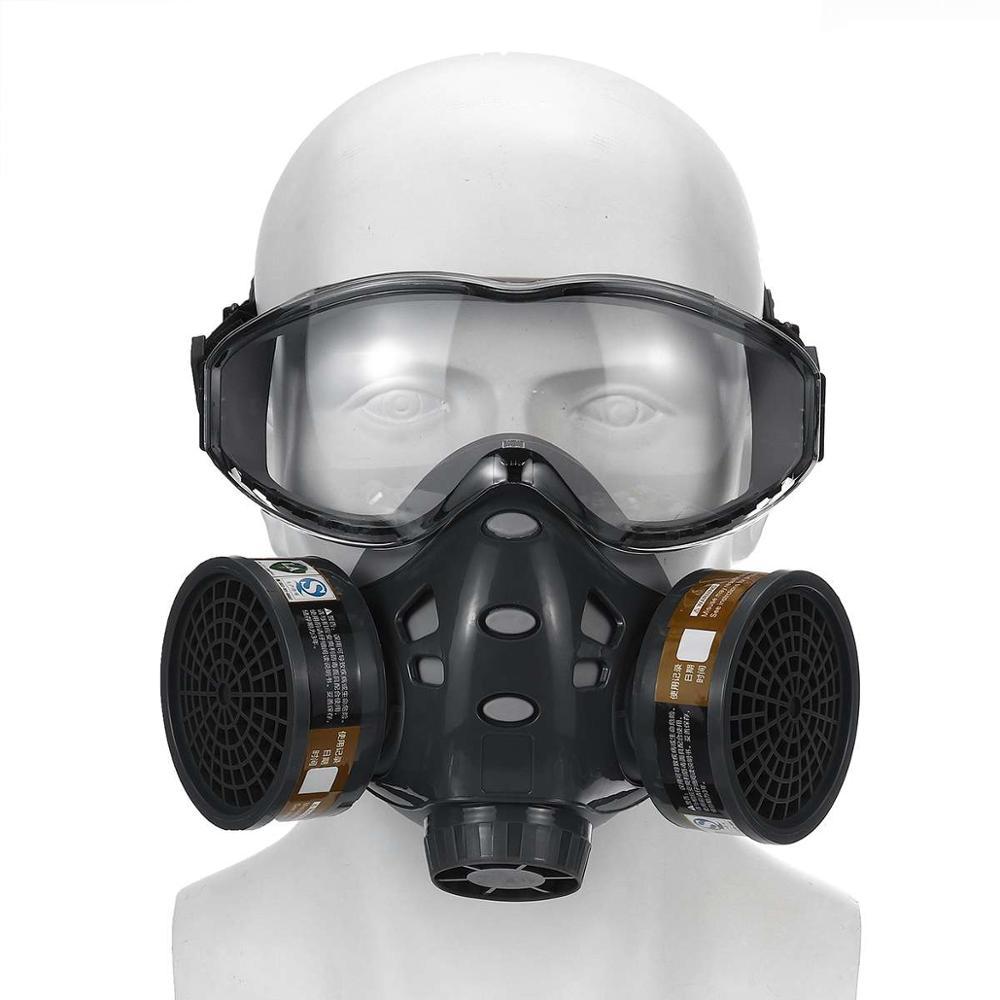 Máscara de Gas con gafas de seguridad, respirador antipolvo con filtros de carbón activo, protector lavable reutilizable