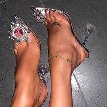 Décolleté da donna di lusso 2019 tacchi alti trasparenti Sexy punta a punta Slip-on festa di nozze scarpe di moda di marca per signora taglia 34-41