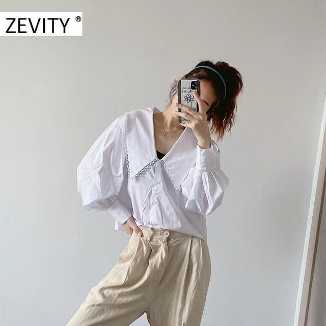 ZEVITY women sweet peter pan collar lace stitching casual poplin blouse shirts women puff sleeve white chemise chic tops LS7201 3