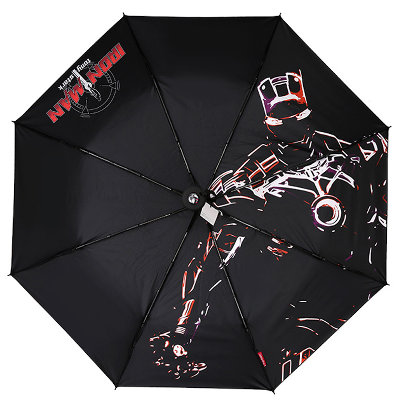 Iron Man Wind Resistant Folding Manual Umbrella Black Rain Deadpool Venom Women Sun Auto Umbrellas Rain For Men UV Protection